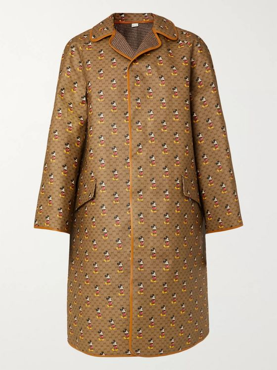 GUCCI + Disney Reversible Leather-Trimmed Printed Coated-Canvas and Wool Coat
