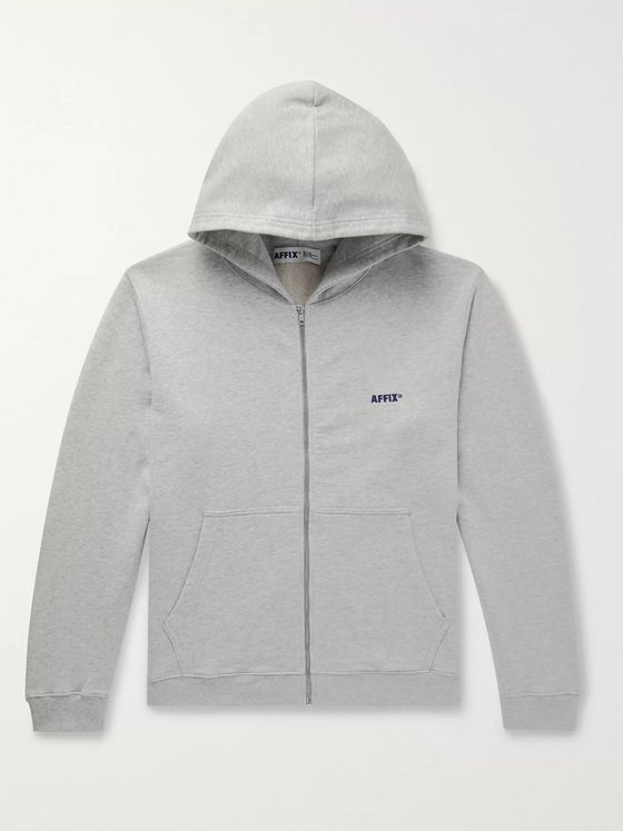 AFFIX Logo-Embroidered Loopback Cotton-Jersey Zip-Up Hoodie