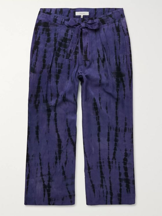 Sasquatchfabrix. Cropped Tie-Dyed Tencel Drawstring Trousers