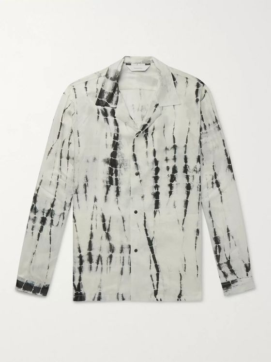 Sasquatchfabrix. Camp-Collar Tie-Dyed Crinkled-Satin Shirt