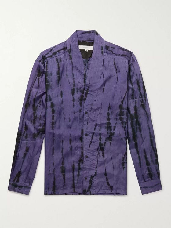 Sasquatchfabrix. Tie-Dyed Collarless Crinkled-Satin Shirt