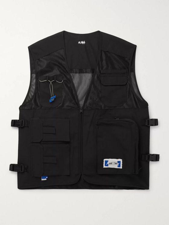 Ader Error Logo-Appliquéd Mesh and Tech-Canvas Gilet