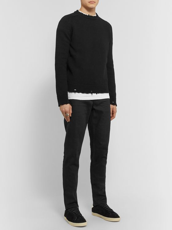 SAINT LAURENT Slim-Fit Distressed Cotton Sweater
