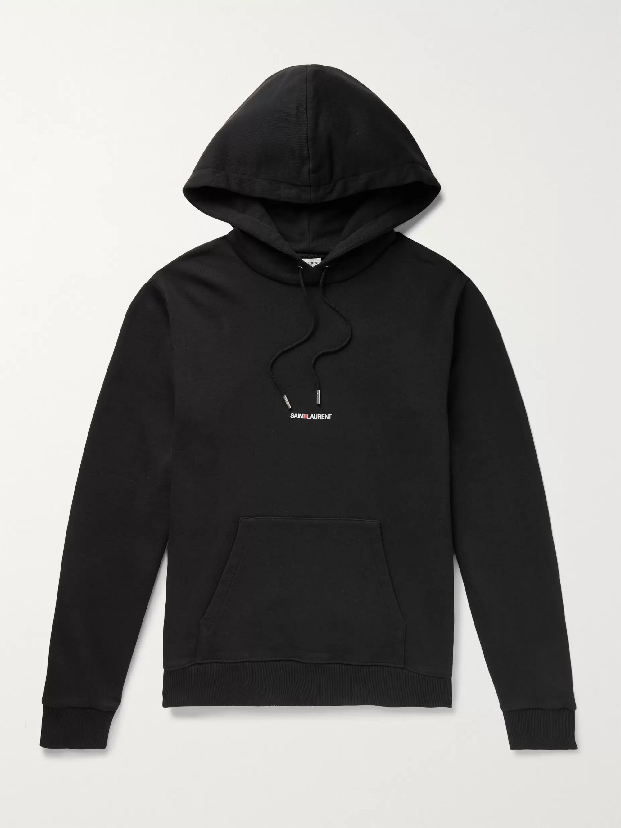 SAINT LAURENT Logo-Print Loopback Cotton-Jersey Hoodie