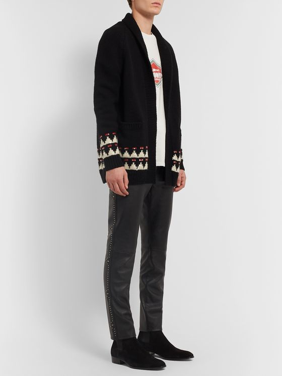 SAINT LAURENT Slim-Fit Studded Leather Trousers