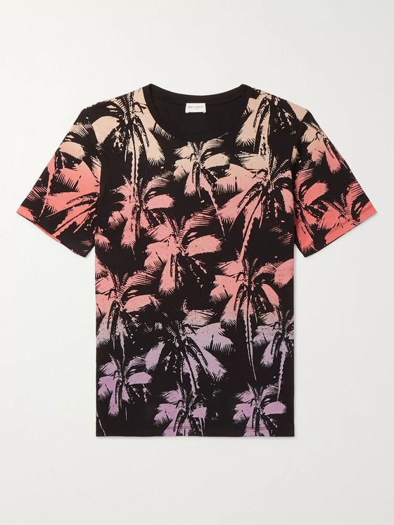 SAINT LAURENT Printed Cotton-Jersey T-Shirt