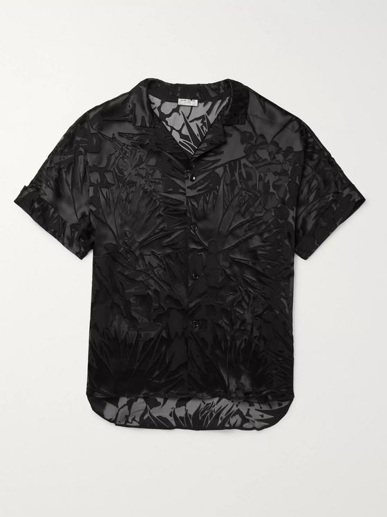 SAINT LAURENT Camp-Collar Devoré Satin Shirt