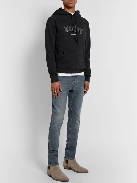 SAINT LAURENT Slim-Fit Printed Loopback Cotton-Jersey Hoodie