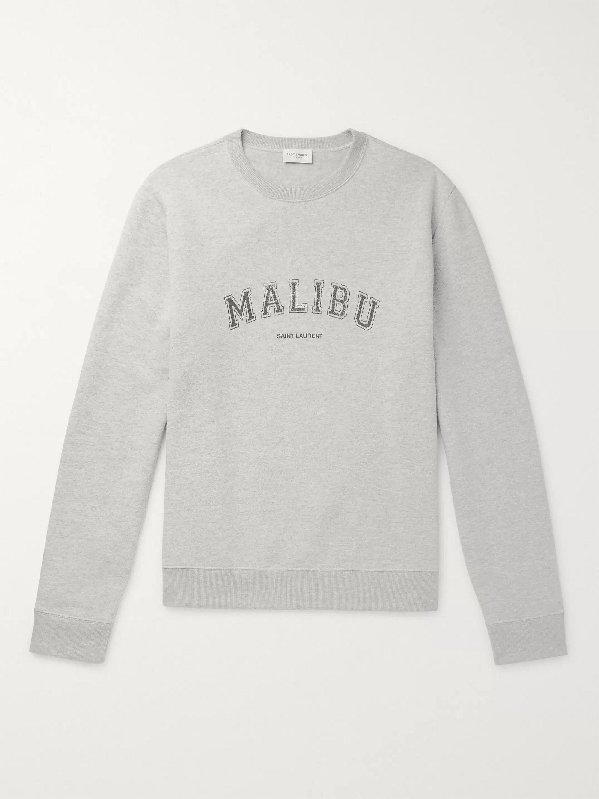 Slim Fit Printed Mélange Fleece Back Cotton Blend Jersey Sweatshirt