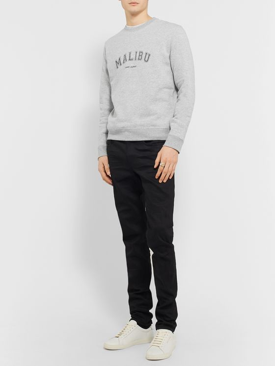 SAINT LAURENT Slim-Fit Printed Mélange Fleece-Back Cotton-Blend Jersey Sweatshirt