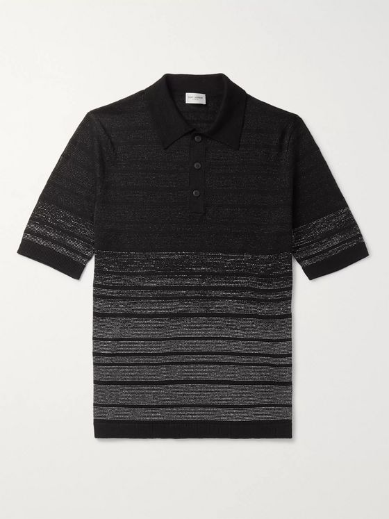SAINT LAURENT Slim-Fit Metallic Linen-Blend Polo Shirt
