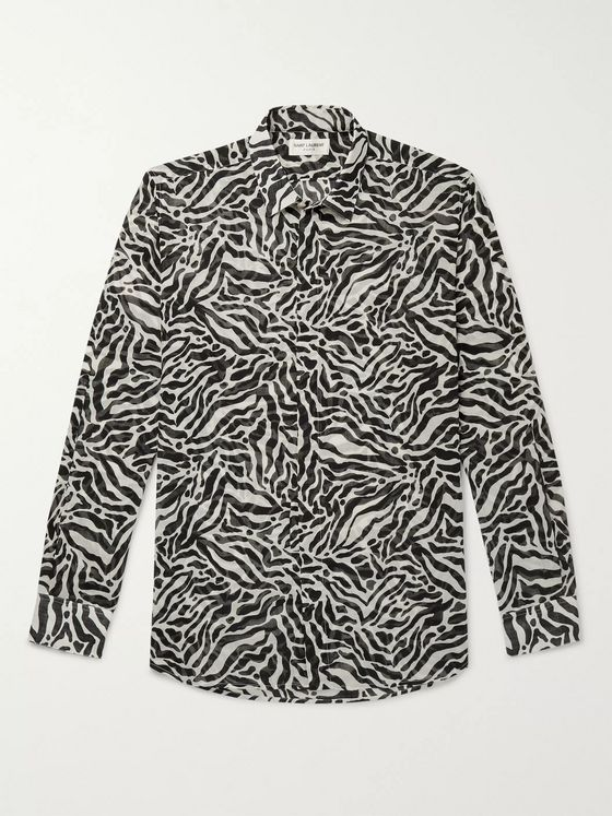 SAINT LAURENT Tiger-Print Wool-Gauze Shirt