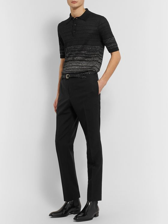 SAINT LAURENT Black Slim-Fit Virgin Wool Trousers