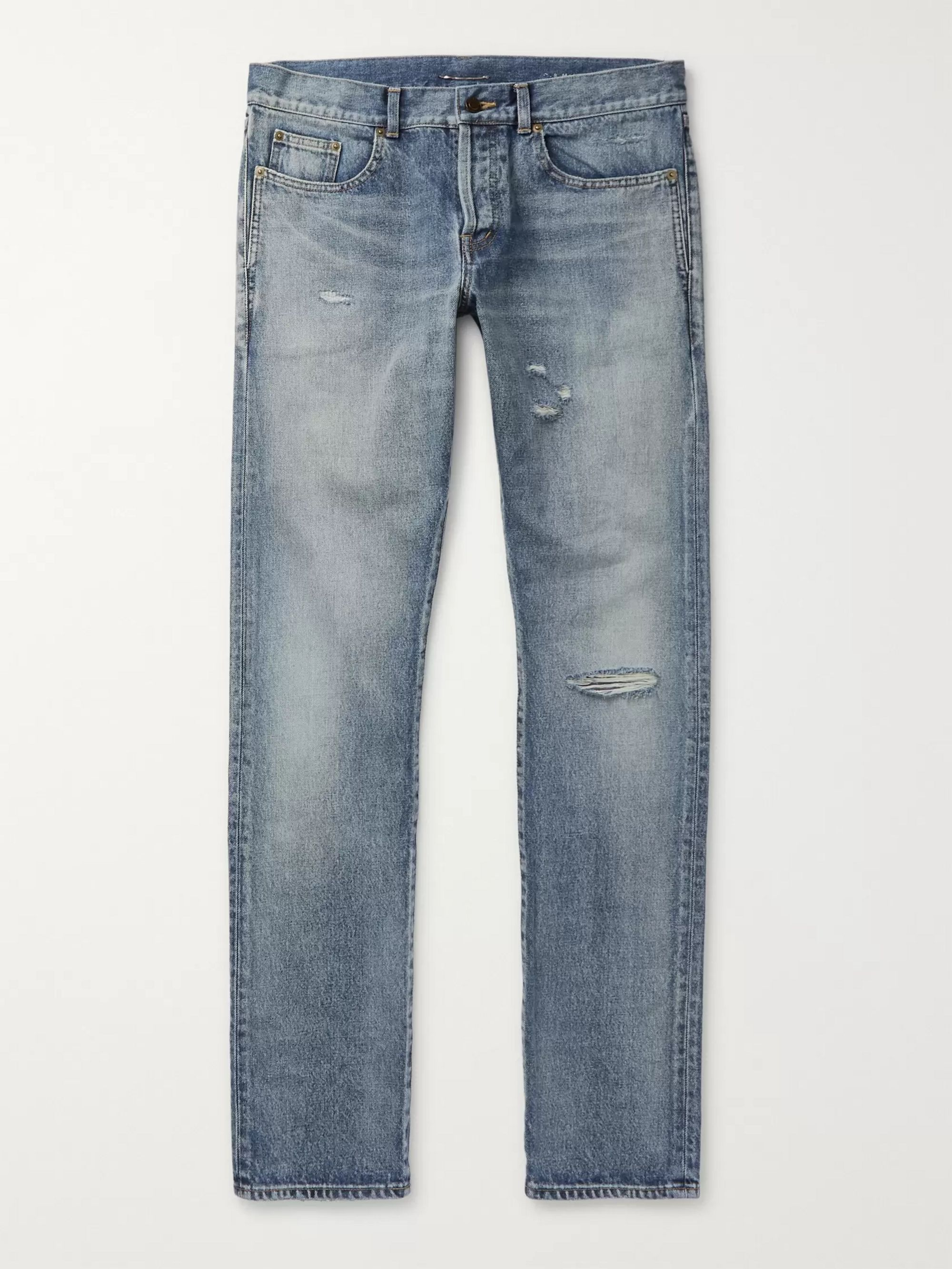 생 로랑 Saint Laurent Blue Slim-Fit Distressed Denim Jeans,Blue