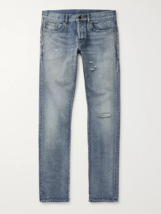 SAINT LAURENT Slim-Fit Distressed Denim Jeans