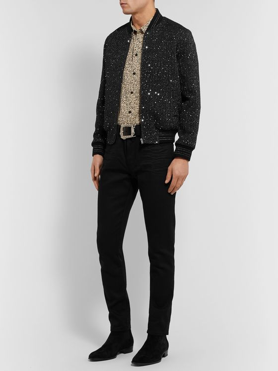 SAINT LAURENT Embellished Woven Bomber Jacket