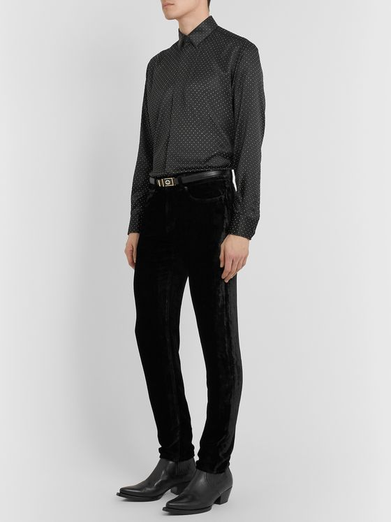 SAINT LAURENT Black Skinny-Fit Velvet Trousers