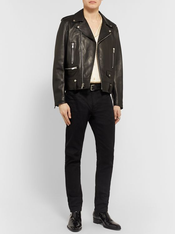 SAINT LAURENT Camp-Collar Embellished Silk Shirt