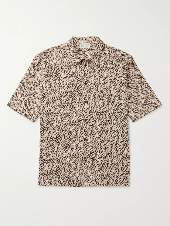 SAINT LAURENT Tiger-Print Cotton-Poplin Shirt