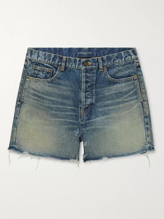 SAINT LAURENT Slim-Fit Distressed Denim Shorts