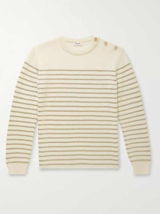 SAINT LAURENT Slim-Fit Metallic Striped Knitted Sweater