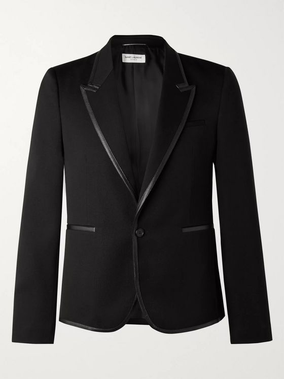 SAINT LAURENT Faux Leather-Trimmed Wool-Gabardine Blazer
