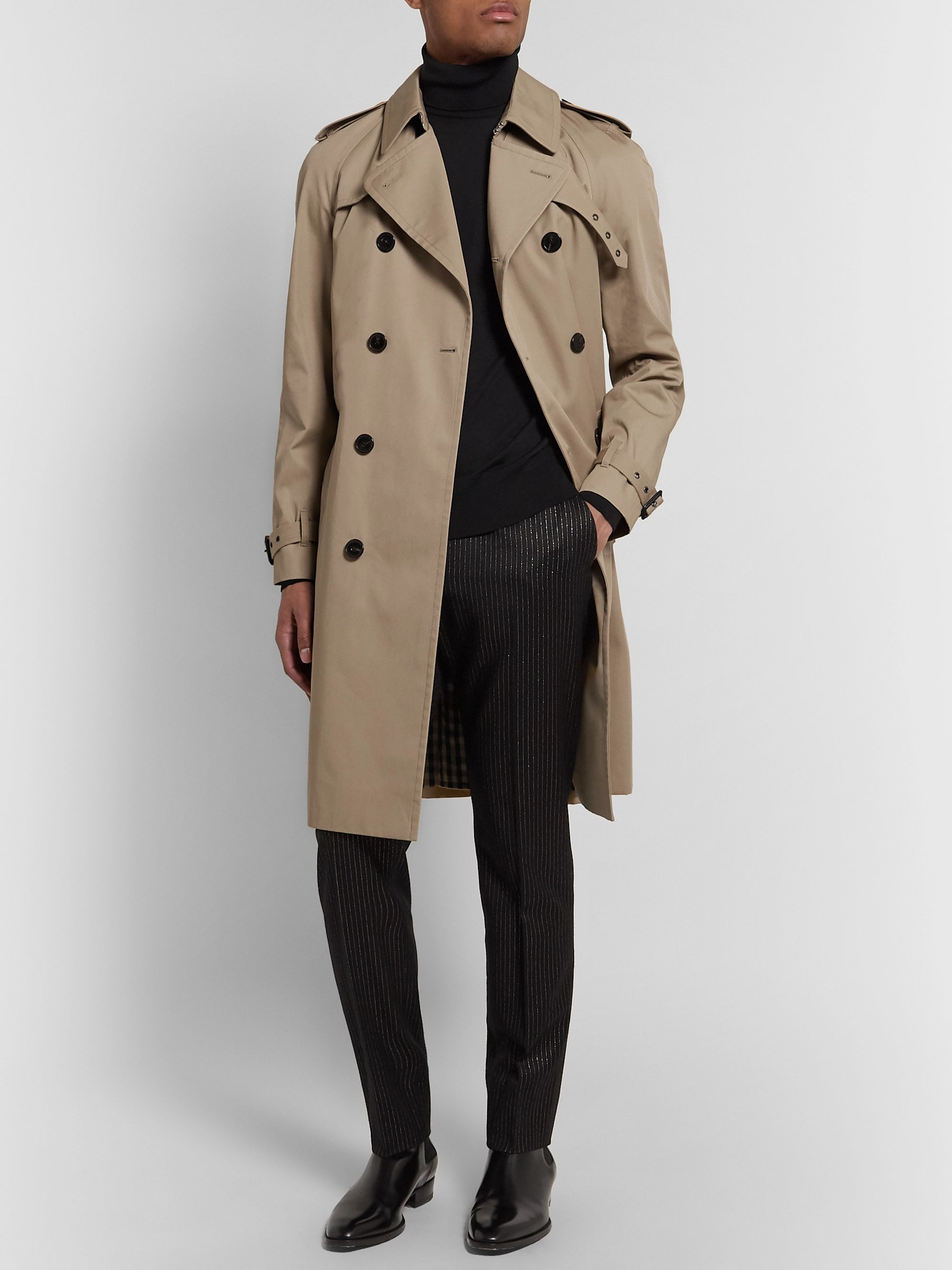 SAINT LAURENT Leather-Trimmed Gabardine Trench Coat