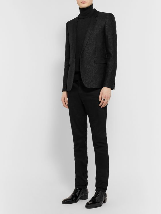 SAINT LAURENT Black Slim-Fit Wool and Silk-Blend Jacquard Blazer