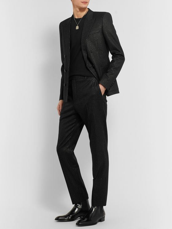 SAINT LAURENT Metallic Pinstripe Wool-Blend Trousers