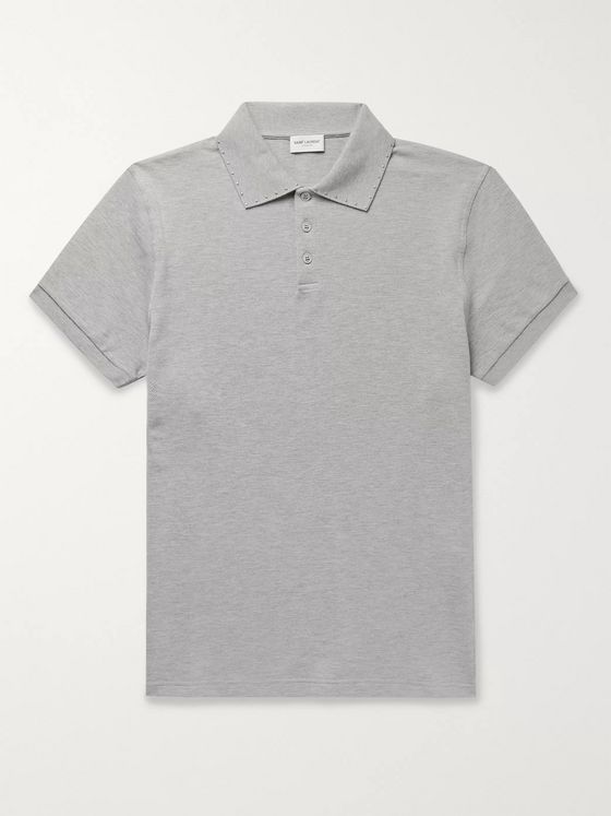 SAINT LAURENT Studded Mélange Cotton-Piqué Polo Shirt