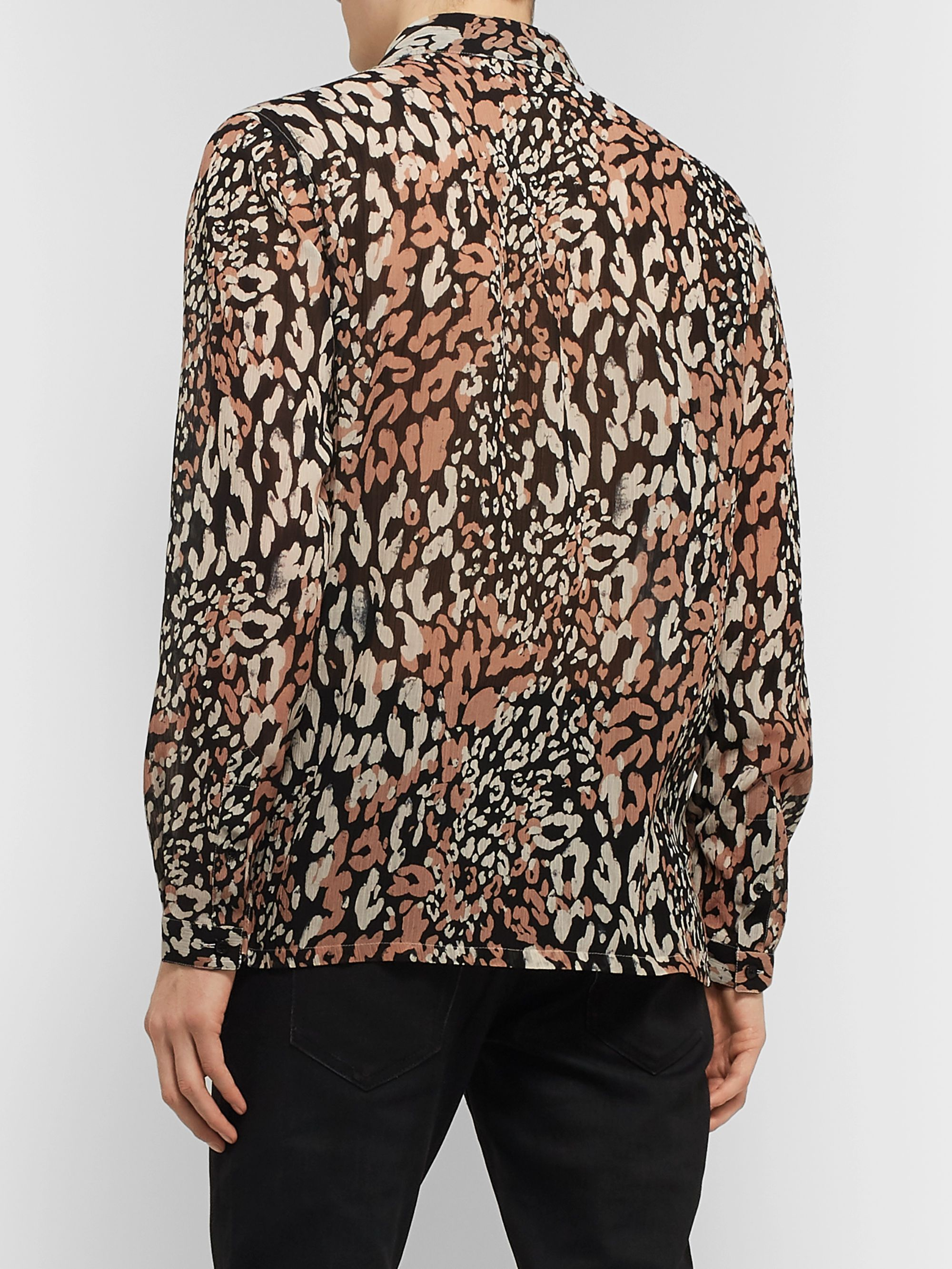 SAINT LAURENT Leopard-Print Cotton and Silk-Blend Shirt