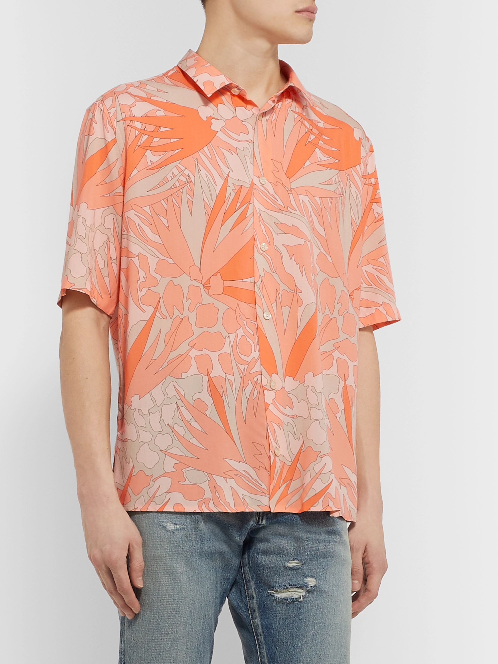 SAINT LAURENT Printed Voile Shirt
