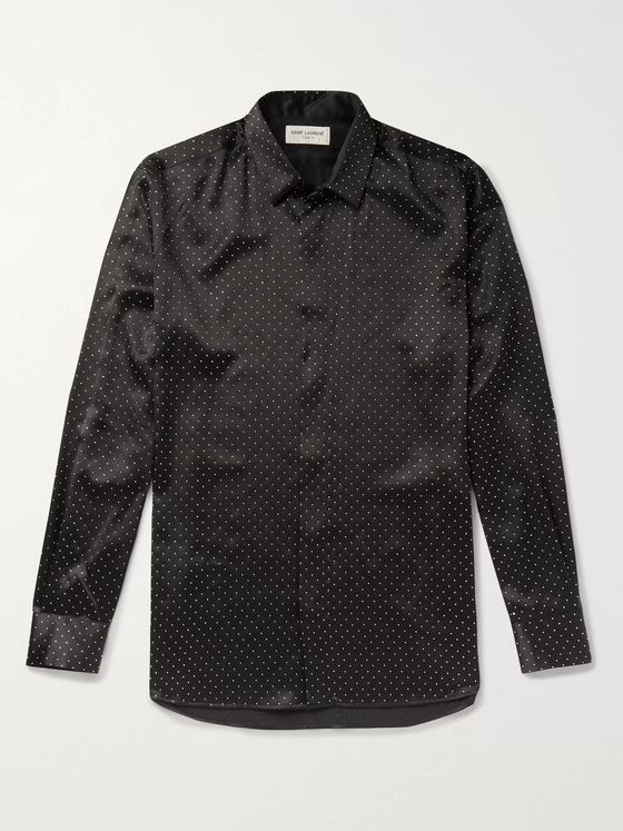 SAINT LAURENT Studded Silk Shirt