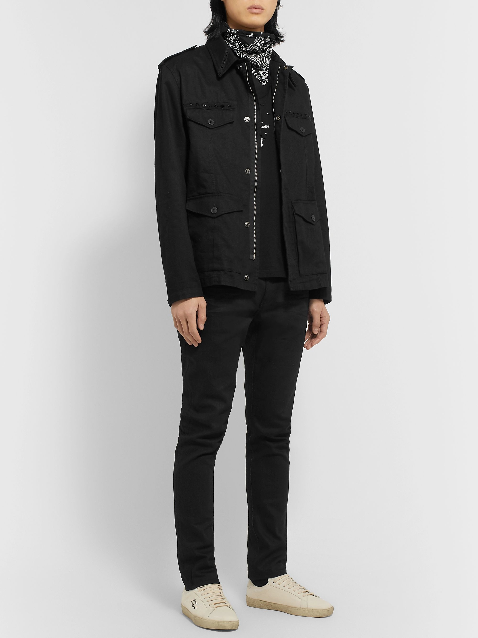SAINT LAURENT Embellished Cotton and Ramie-Blend Gabardine Jacket