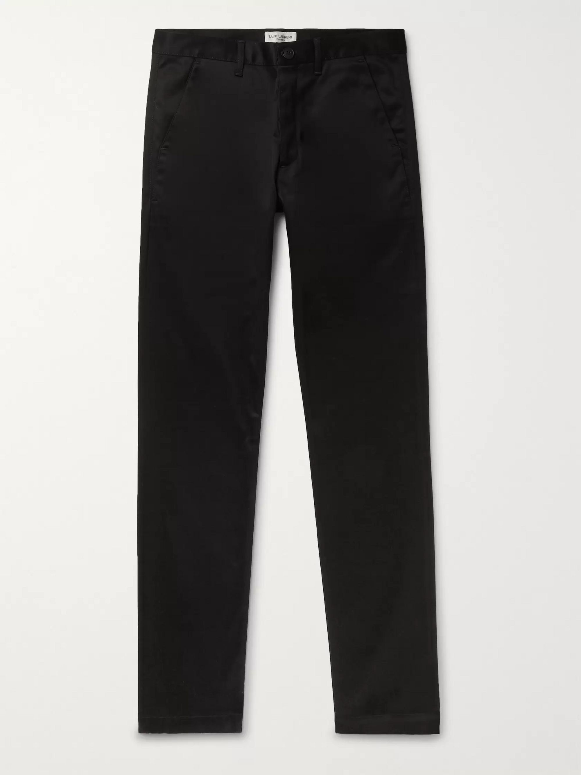 SAINT LAURENT Black Slim-Fit Denim Chino Trousers