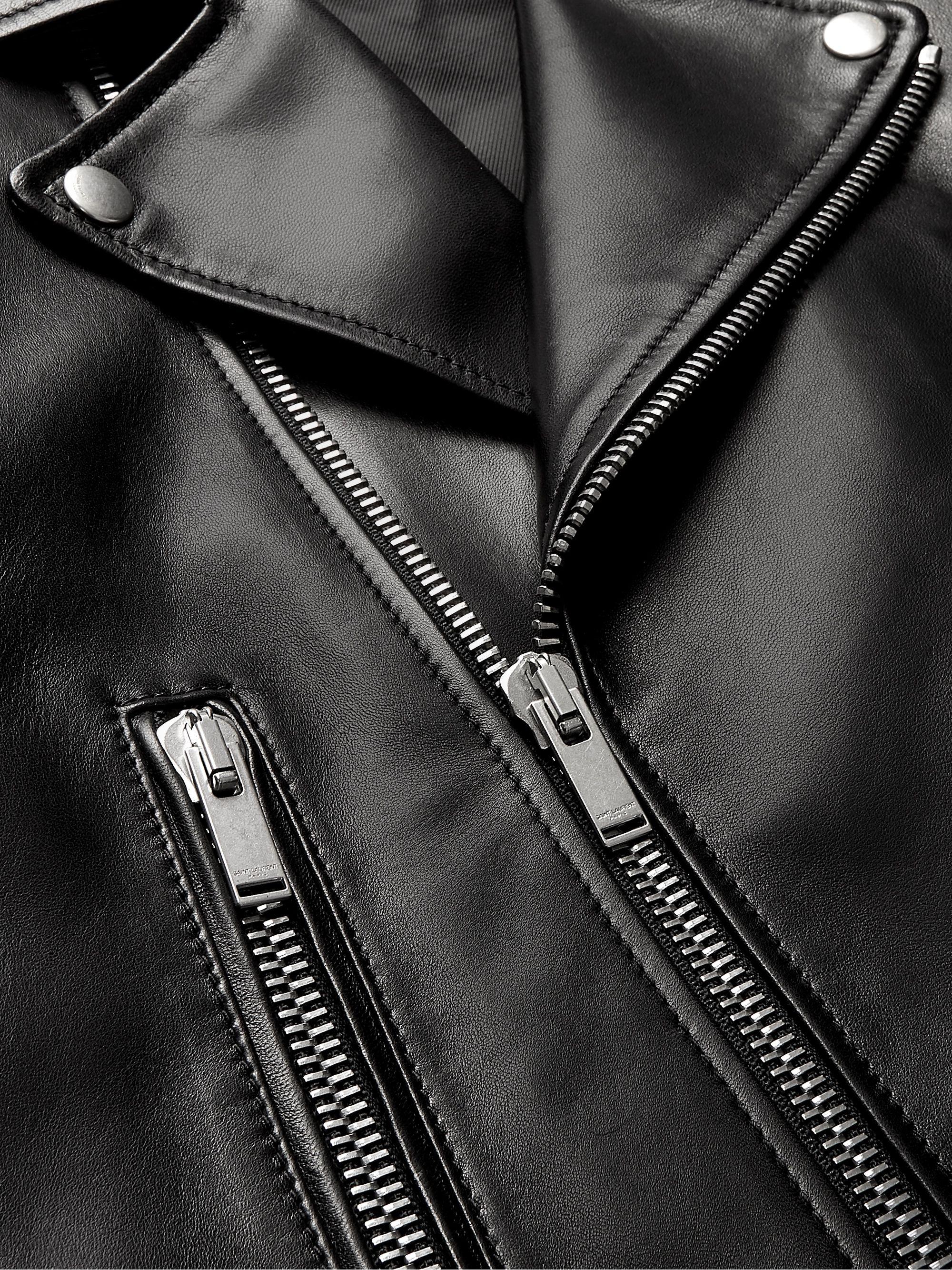 Black Slim Fit Leather Biker Jacket Saint Laurent Mr Porter