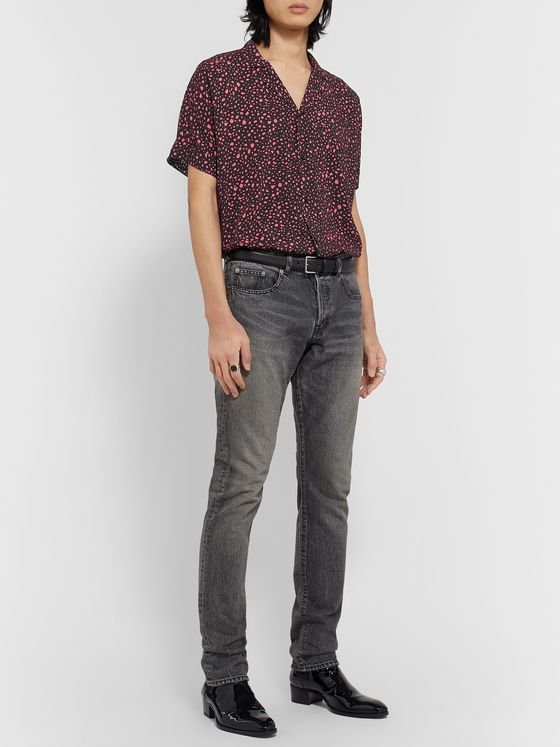SAINT LAURENT Camp-Collar Printed Crepe de Chine Shirt