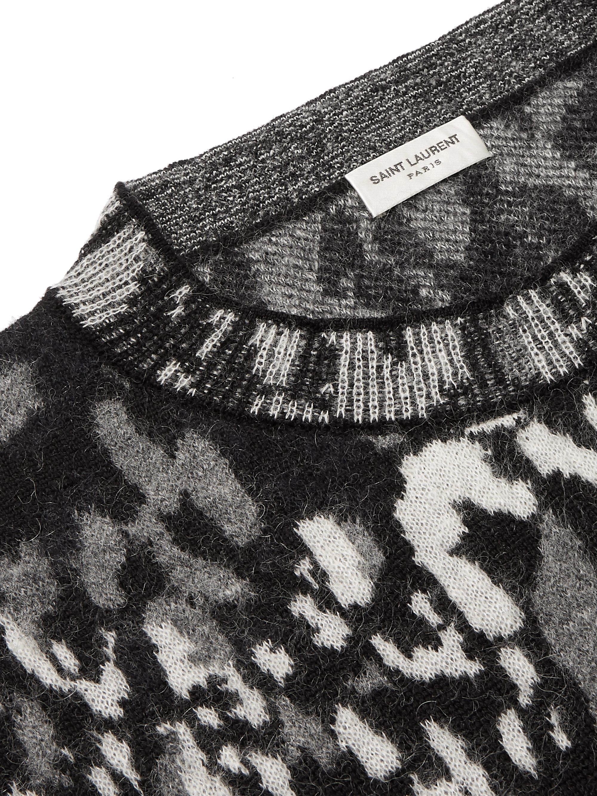 SAINT LAURENT Slim-Fit Leopard-Jacquard Wool-Blend Sweater