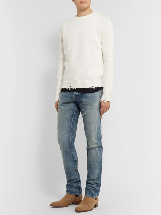 SAINT LAURENT Slim-Fit Distressed Ribbed Cotton Sweater