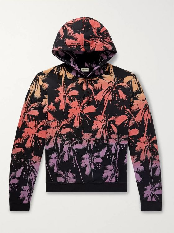 SAINT LAURENT Printed Fleece-Back Cotton-Jersey Hoodie