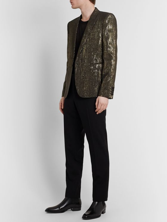 SAINT LAURENT Slim-Fit Metallic Woven Blazer