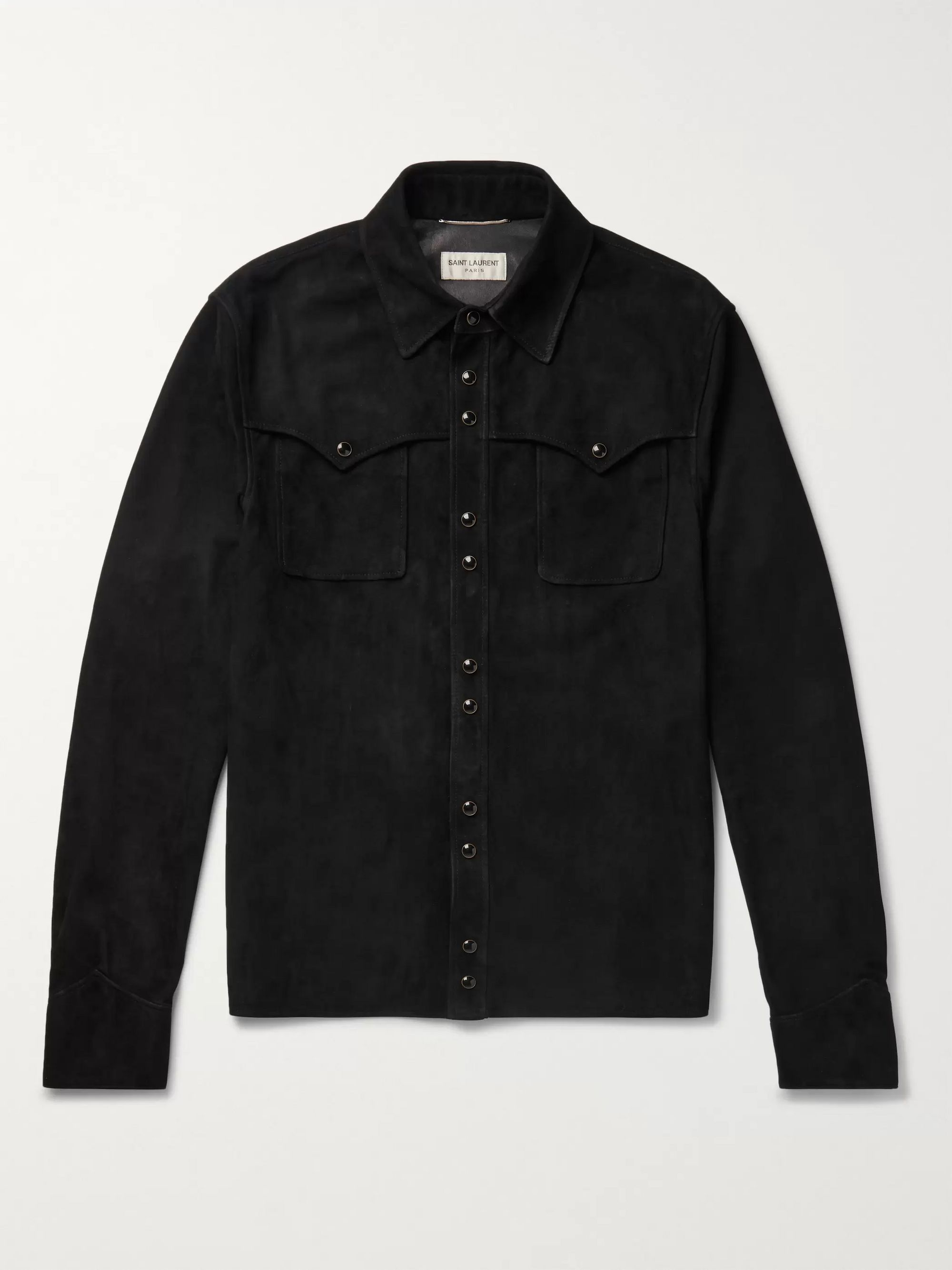 SAINT LAURENT Slim-Fit Western Suede Shirt