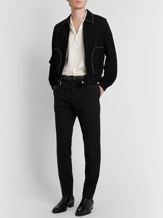 SAINT LAURENT Studded Suede Blouson Jacket