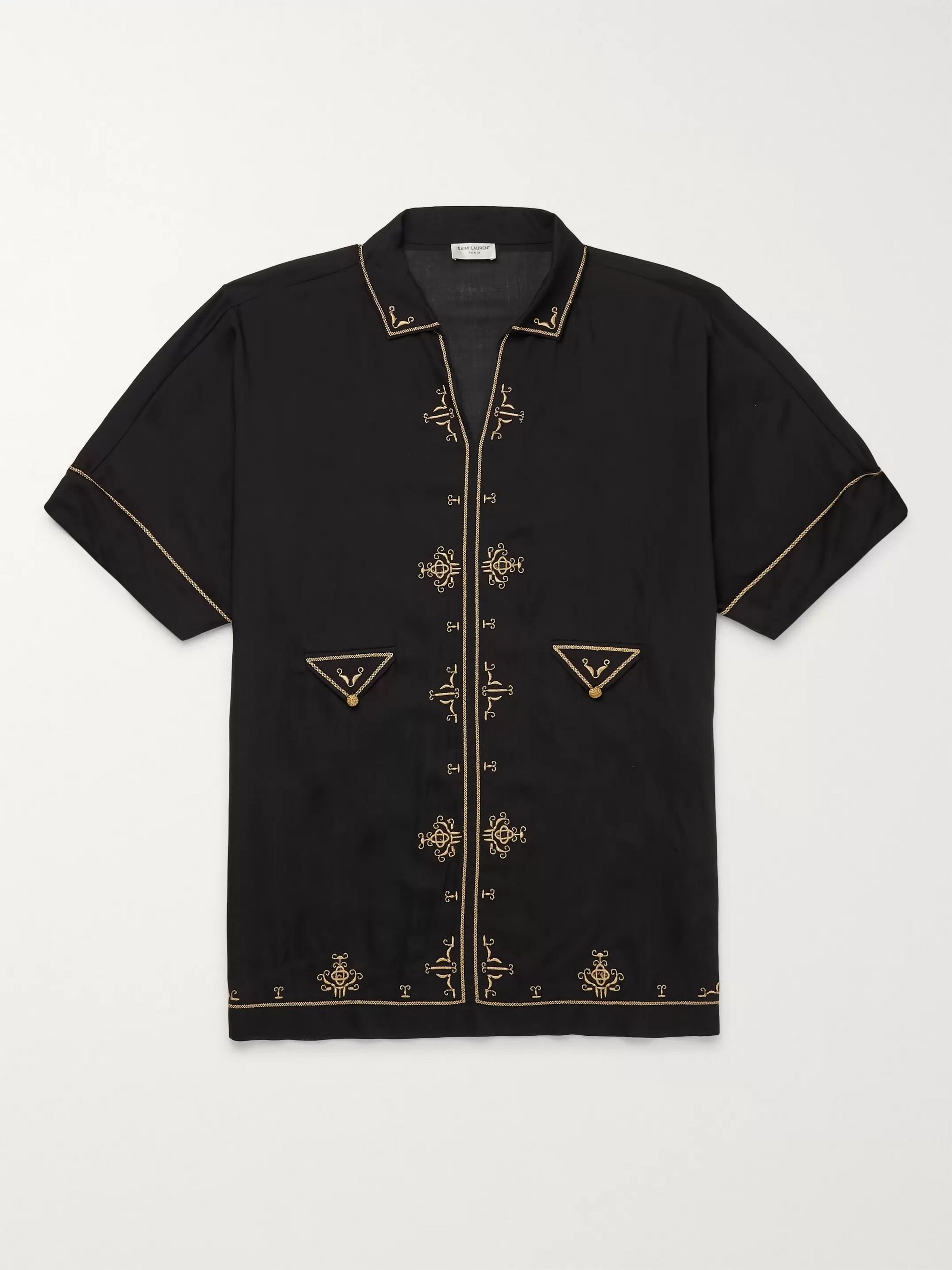 SAINT LAURENT Embroidered Voile Shirt