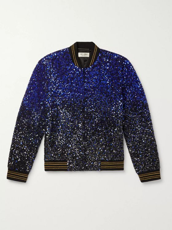 SAINT LAURENT Dégradé Sequinned Wool Bomber Jacket