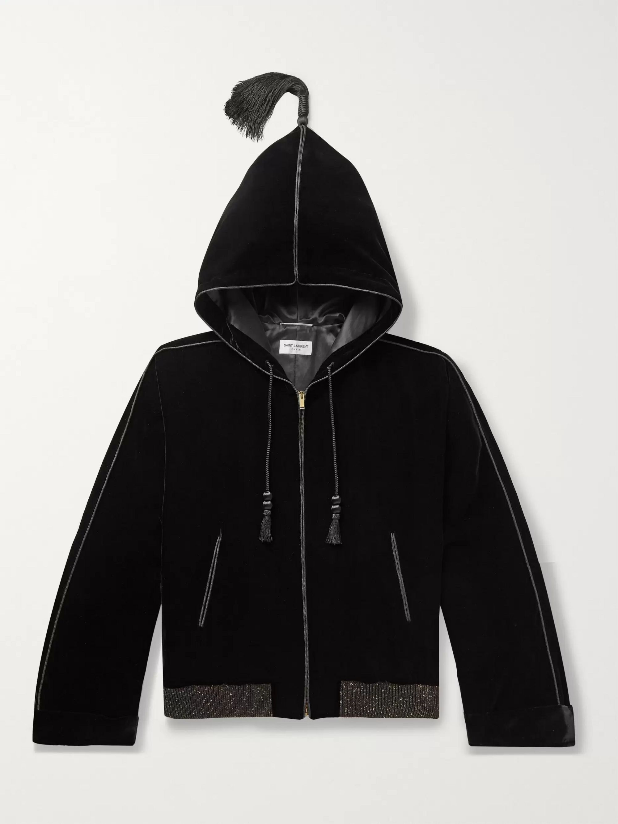 SAINT LAURENT Tasselled Velvet Hooded Jacket