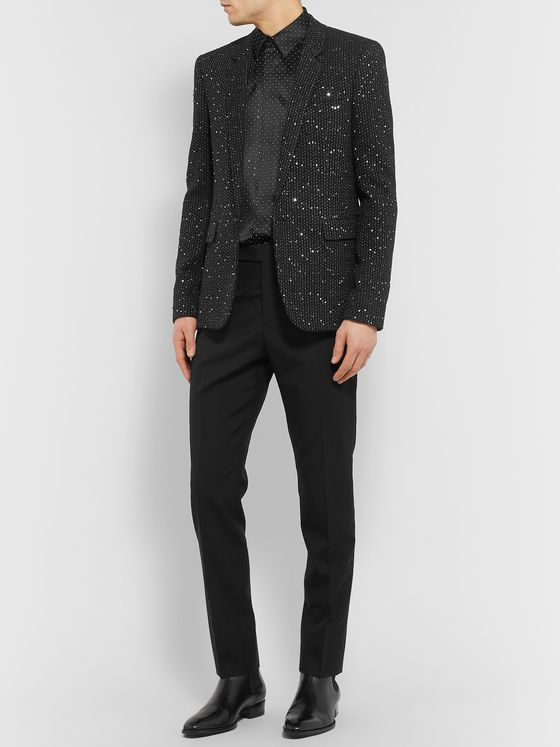 SAINT LAURENT Slim-Fit Sequin-Embellished Woven Blazer