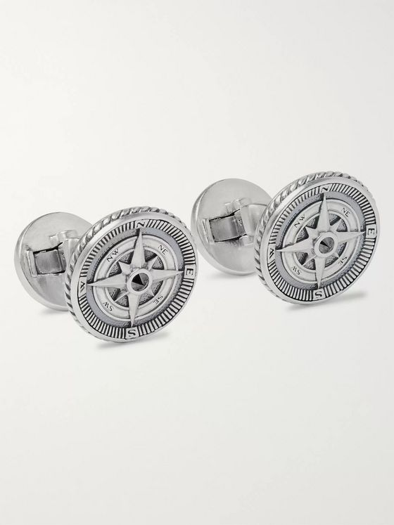 David Yurman Maritime Compass Burnished Sterling Silver and Black Diamond Cufflinks