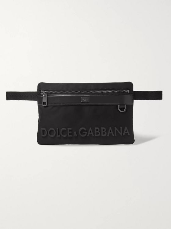 Dolce & Gabbana Logo-Appliquéd Leather-Trimmed Nylon Belt Bag