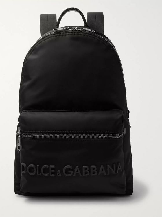 Dolce & Gabbana Logo-Appliquéd Leather-Trimmed Shell Backpack
